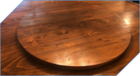 Chestnut Table with Matching Lazy Susan