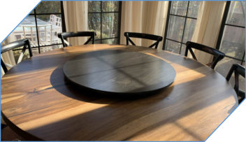 Clear Wood Lazy Susan Matching Chairs